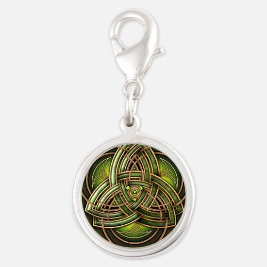 Green Celtic Triquetra Silver Round Charm