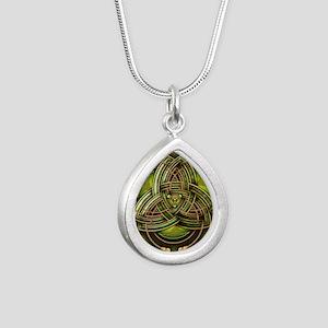 Green Celtic Triquetra Silver Teardrop Necklace