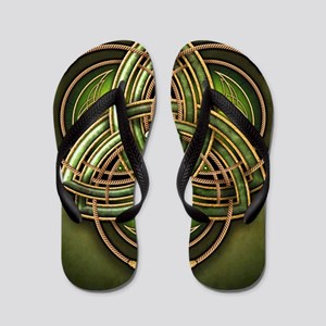 Green Celtic Triquetra Flip Flops