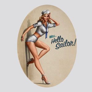 vintage pin-up girl Oval Ornament