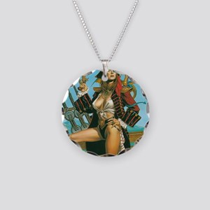 pin-up pirate Necklace Circle Charm