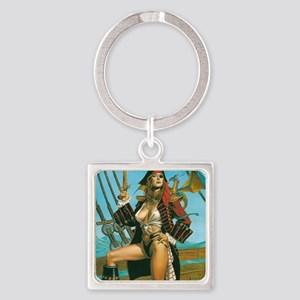 pin-up pirate Square Keychain