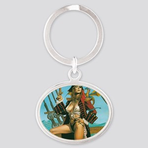 pin-up pirate Oval Keychain