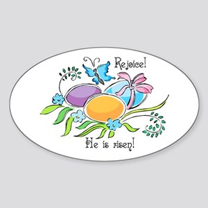 Easter Egg Rejoice Oval Sticker