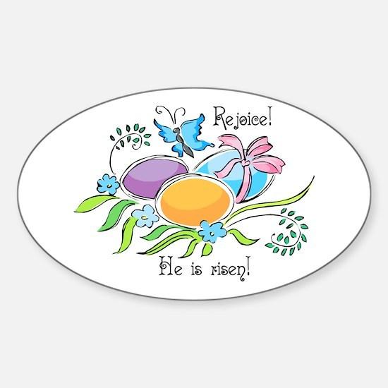 Easter Egg Rejoice Oval Bumper Stickers