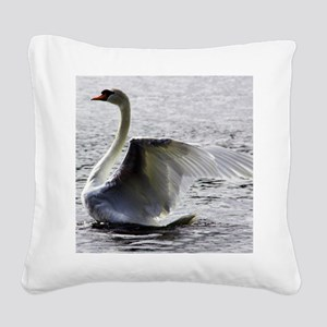 Swan Calendar January Square Canvas Pillow