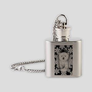 Polar Bear Cub Snowflake Oval Ornam Flask Necklace