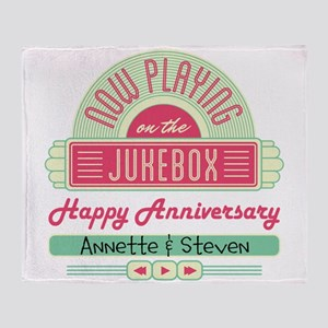 Personalized Anniversary Retro Jukebox Throw Blank
