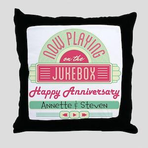 Personalized Anniversary Retro Jukebox Throw Pillo