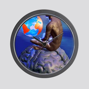 Global thought, conceptual artwork Wall Clock
