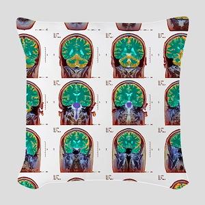 Healthy brain, MRI scans Woven Throw Pillow