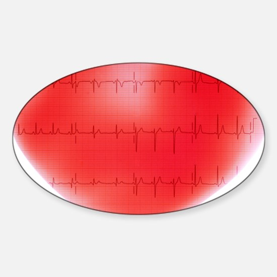 Heart and ECG Sticker (Oval)