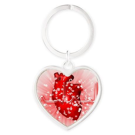 Heart and ECG Heart Keychain