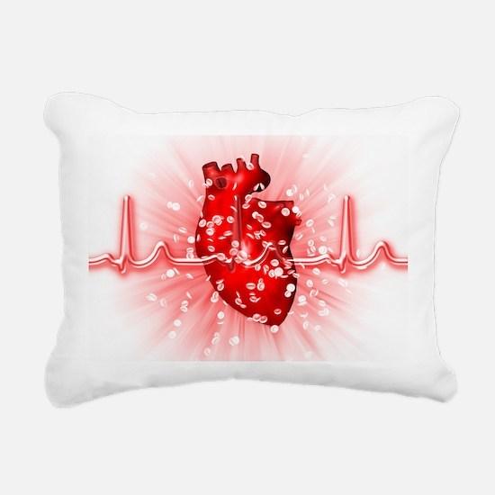 Heart and ECG Rectangular Canvas Pillow