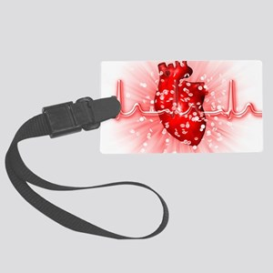 Heart and ECG Large Luggage Tag