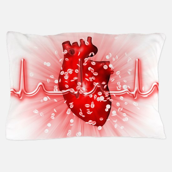 Heart and ECG Pillow Case