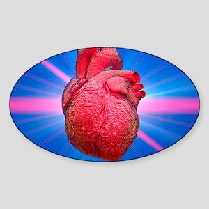Heart and lightbeams Sticker (Oval)
