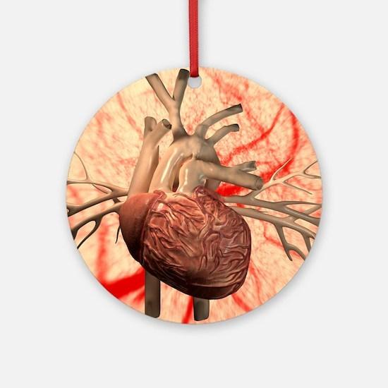 Heart, computer artwork Round Ornament