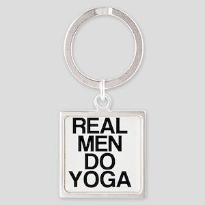 Real Men Do Yoga Square Keychain