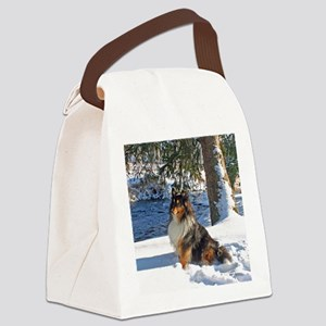 Snow Sheltie Canvas Lunch Bag