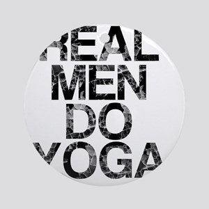 Real Men Do Yoga, Vintage, Round Ornament