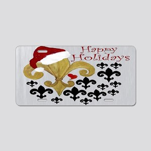 Santa Christmas Fleur de li Aluminum License Plate