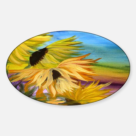 Sunflower Field Sticker (Oval)