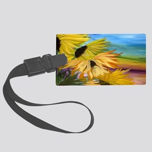 Sunflower Field Large Luggage Tag