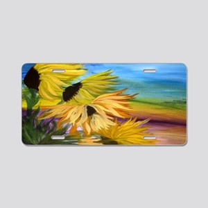 Sunflower Field Aluminum License Plate