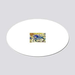 Sandy Crab art 20x12 Oval Wall Decal