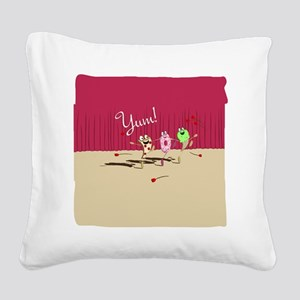 pizza n pals plate2 Square Canvas Pillow