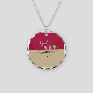 pizza n pals plate2 Necklace Circle Charm