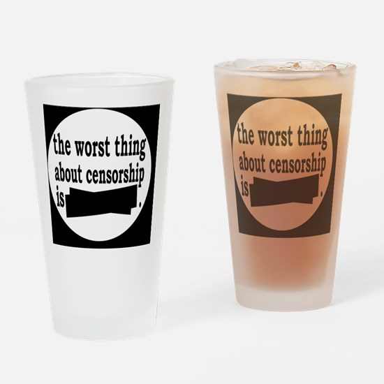 censorshipbutton Drinking Glass