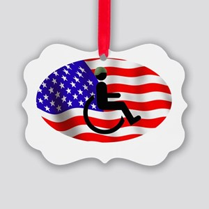 Proud Disabled Veteran WHT Picture Ornament