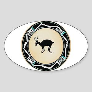 MIMBRES BLACK JACK RABBIT BOWL Oval Sticker