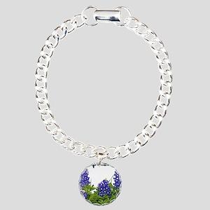 Texas Bluebonnets Charm Bracelet, One Charm