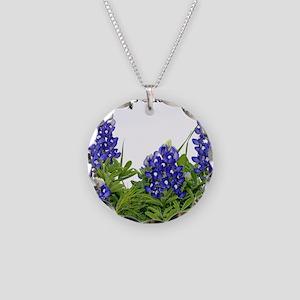 Texas Bluebonnets Necklace Circle Charm