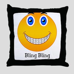 Bling Bling Smiley Throw Pillow