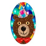 Teddy Bear Party Sticker (Oval)