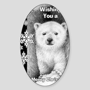 Polar Bear Cub Snowflake Christmas  Sticker (Oval)