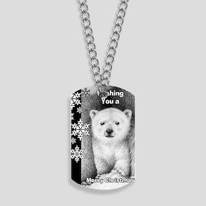 Polar Bear Cub Snowflake Christmas Card Dog Tags