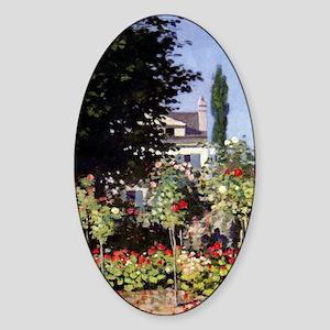 Monet Flowering Garden at Sainte-Ad Sticker (Oval)