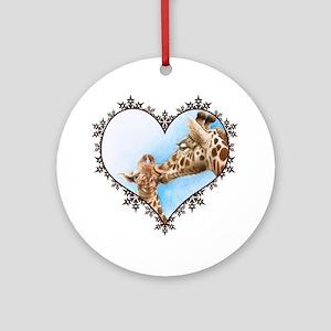 #Giraffe and Calf Brown Snowflake H Round Ornament