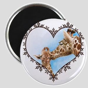 #Giraffe and Calf Brown Snowflake Heart T-s Magnet