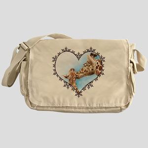 #Giraffe and Calf Brown Snowflake He Messenger Bag