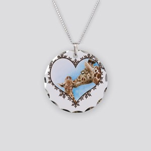 #Giraffe and Calf Brown Snow Necklace Circle Charm