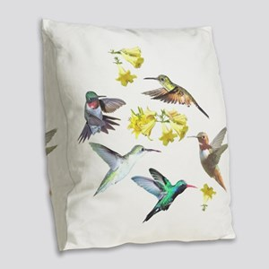 HUMMINGBIRDS AND TRUMPET PLANT Burlap Throw Pillow