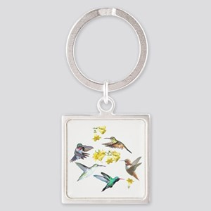 HUMMINGBIRDS AND TRUMPET PLANT Square Keychain