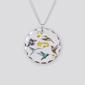 HUMMINGBIRDS AND TRUMPET PLA Necklace Circle Charm
