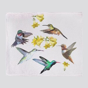 HUMMINGBIRDS AND TRUMPET PLANT Throw Blanket